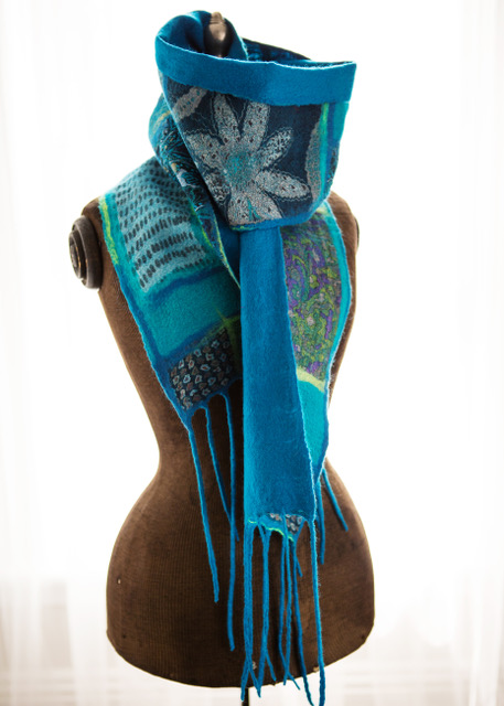 Blue Patterned Scarf